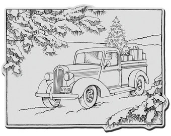 "New TRUCK of Gifts CHRISTMAS Cling Rubber STAMP by Stampendous 5"" x 4"""