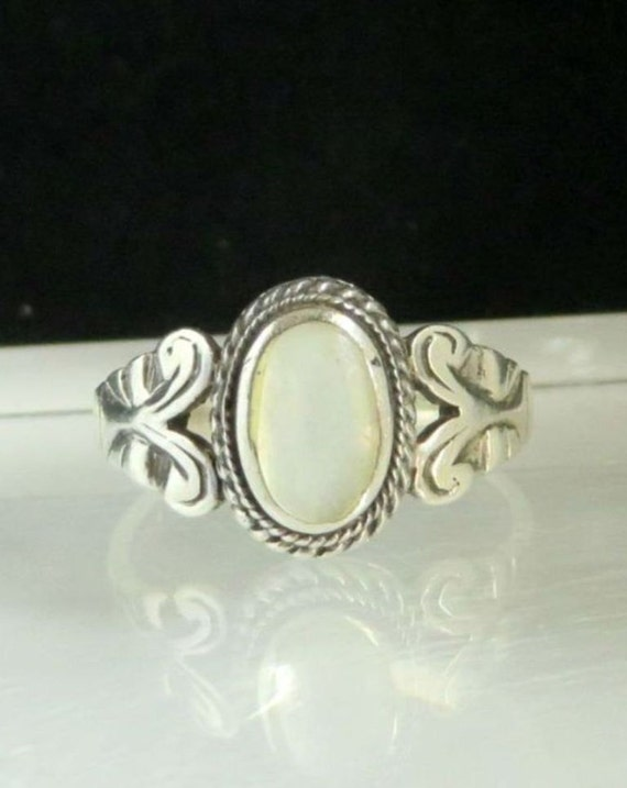 Vintage Opal Ring Avon 925 Sterling Silver White Opal Ring