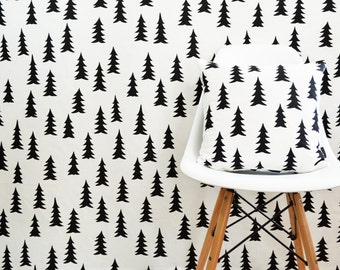 Scandinavian Swedish Monochrome fabric  - Available per meter - Gran