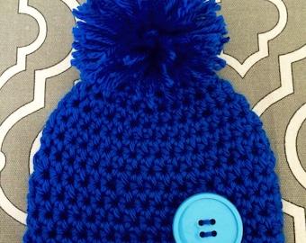Blue Baby Beanie- Size Newborn