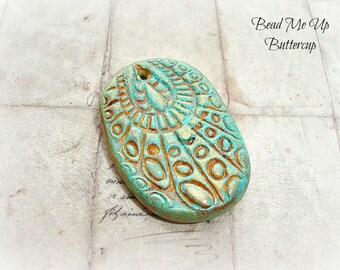 Patina & Caramel Rustic Aztec Polymer Clay Pendant