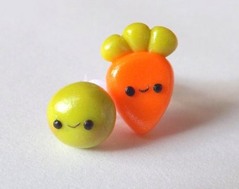 Pea and Carrot Earrings,  Mismatch Earrings, Food Jewelry Earrings, Hypoallergenic, Cute Stud Earrings, Girls Jewelry, Vegetable Earrings