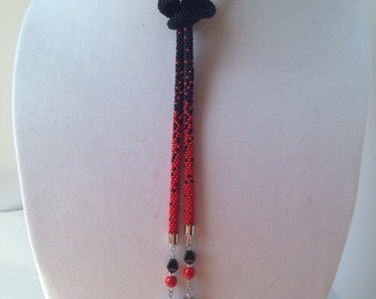 Lariat Style Beaded Crochet Necklace