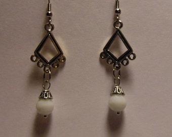 Small White Pearl Chandelier Earrings