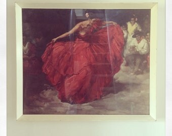 "Retro Vintage Fransisco R S Clemente Print ""Red Skirt"" circa 1960"
