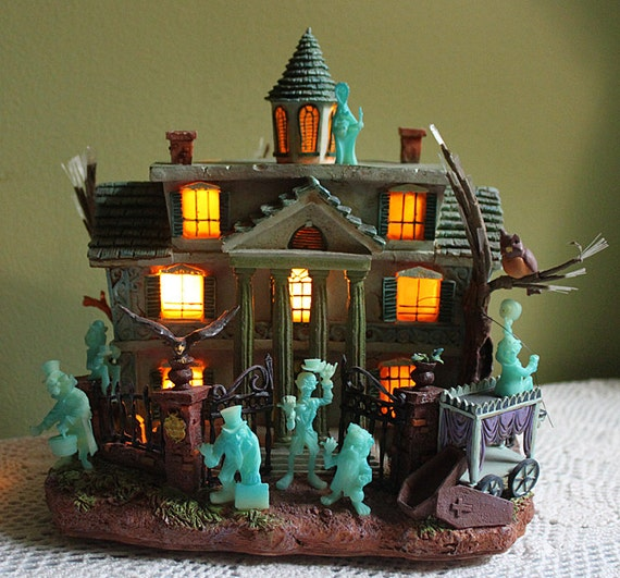 Vintage Halloween Haunted House With Lights Disney Haunted