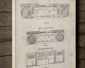 Boom Box Canvas Art, Boombox, Technology Art, Retro Radio, Canvas Wall Decor, PP0448