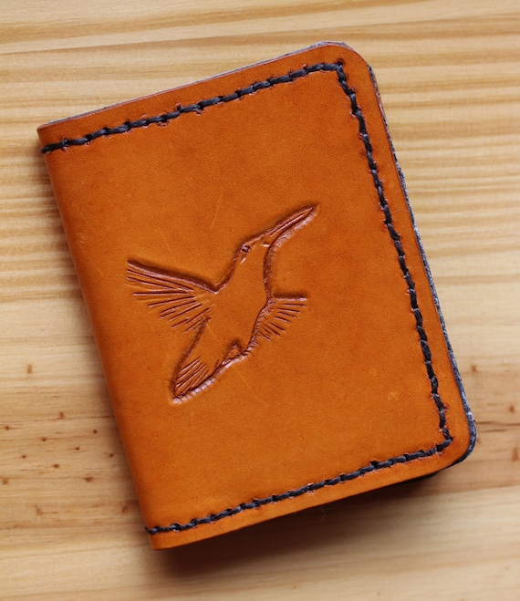 Bird wallet hand carved leather by tinasleathercrafts