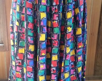 Vintage eighties/nineties colourful Perri Cutten pleated  viscose skirt size 14