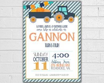 Pumpkin Patch Birthday Invitation - JPEG printable - Tractor Invitation - Fall Birthday Party - Pumpkin Invite - Pumpkin Party Invitation