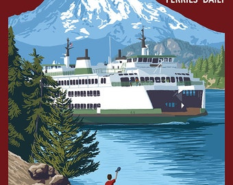 Ferry and Mount Rainier Scene - Puget Sound, Washington (Art Prints available in multiple sizes)