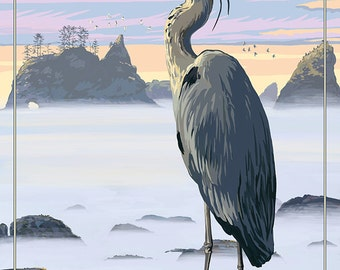 Cape Disappointment State Park - Heron and Fog Shorline (Art Prints available in multiple sizes)