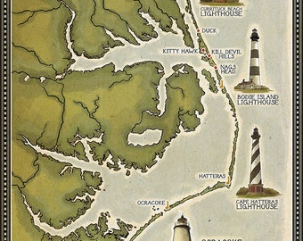 Lighthouse and Town Map - Outer Banks, North Carolina (Art Prints available in multiple sizes)