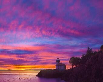 San Juan Island, Washington - Lime Kiln Lighthouse (Art Prints available in multiple sizes)