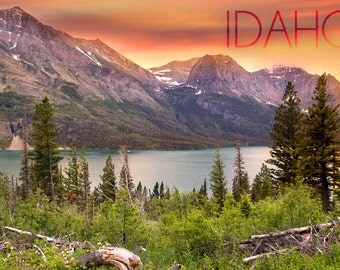 Idaho - Lake and Peaks at Sunset (Art Prints available in multiple sizes)
