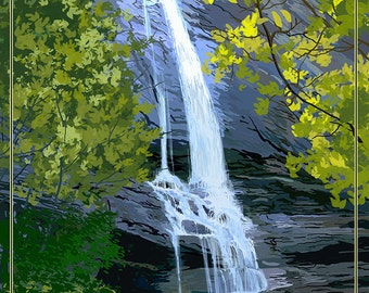 Chimney Rock State Park, North Carolina - Hickory Nut Falls (Art Prints available in multiple sizes)