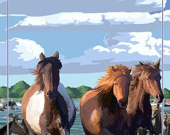 Berlin, Maryland - Pony Swim (Art Prints available in multiple sizes)
