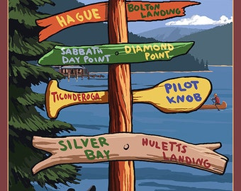 The Adirondacks - Lake George, New York - Sign Destinations (Art Prints available in multiple sizes)