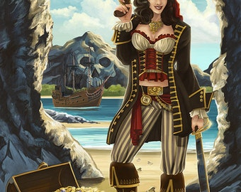 Cape Cod, Massachusetts - Pirate Pinup (Art Prints available in multiple sizes)