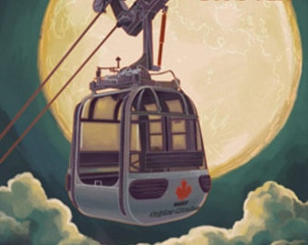 Banff, Canada - Gondola and Full Moon (Art Prints available in multiple sizes)