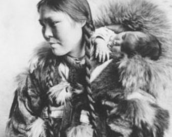 Eskimo Mother and Child in Alaska Photograph (Art Prints available in multiple sizes)