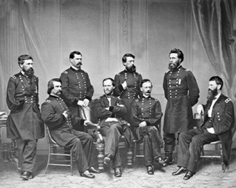General Sherman and Staff Civil War Photograph (Art Prints available in multiple sizes)
