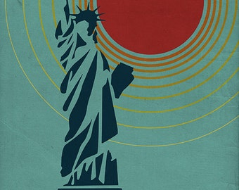 New York City, NY - Vector Statue of Liberty (Art Prints available in multiple sizes)