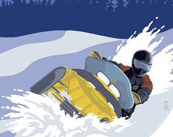 Adirondack Mountains, New York - Snowmobile Scene (Art Prints available in multiple sizes)