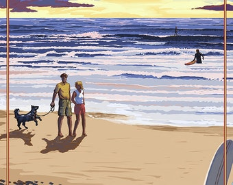 Carlsbad, California - Beach Scene and Surfers (Art Prints available in multiple sizes)