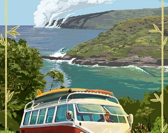 Maui, Hawaii - VW Van Cruise (Art Prints available in multiple sizes)