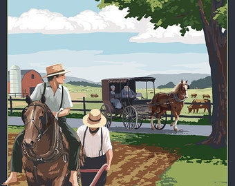 Amish Country - Field Scene (Art Prints available in multiple sizes)