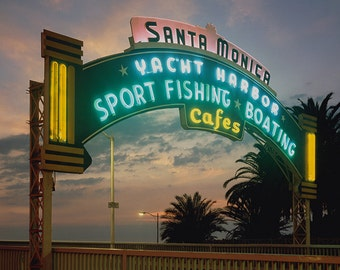 Santa Monica, California - Pier at Sunset Sign (Art Prints available in multiple sizes)