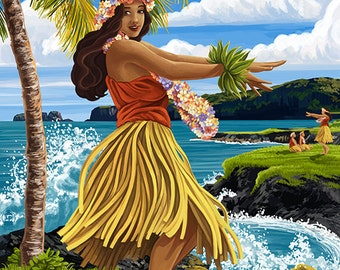 Hawaii Hula Girl on Coast - Haleiwa, Hawaii (Art Prints available in multiple sizes)