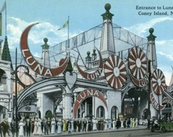 Coney Island, New York - Luna Park Entrance (Art Prints available in multiple sizes)
