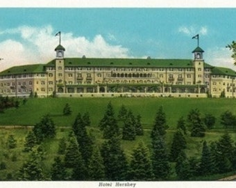 Hershey, Pennsylvania - Exterior View of the Hotel Hershey (Art Prints available in multiple sizes)