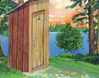 Comical Cartoon - Fond Memories of Camping, View of an Outhouse (Art Prints available in multiple sizes)