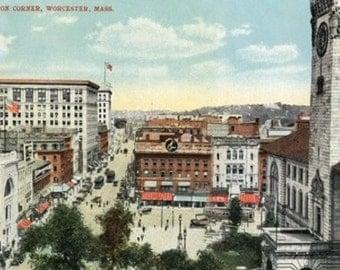 Worcester, Massachusetts - Aerial View of Harrington Corner (Art Prints available in multiple sizes)