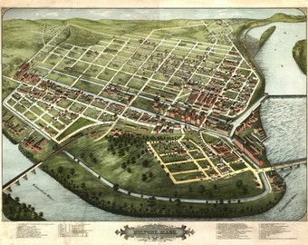 Holyoke, Massachusetts - Panoramic Map (Art Prints available in multiple sizes)