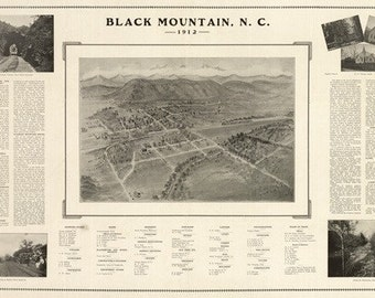 Black Mountain, North Carolina - Panoramic Map (Art Prints available in multiple sizes)