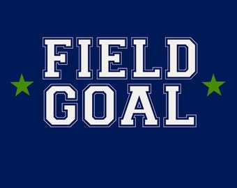 Monogram - Game Day - Blue and Green - Field Goal (Art Prints available in multiple sizes)