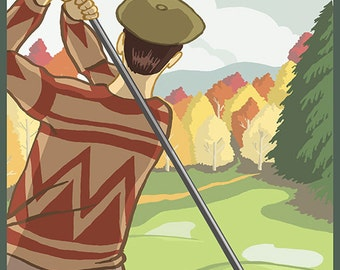 Couer D'Alene, Idaho - Golfer (Art Prints available in multiple sizes)