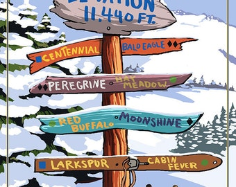 Beaver Creek, Colorado - Ski Signpost (Art Prints available in multiple sizes)