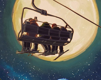 Ski Lift and Full Moon (Art Prints available in multiple sizes)