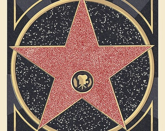 Hollywood, California - Star Letterpress (Art Prints available in multiple sizes)