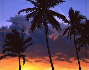 Palms and Sunset - Hawaii (Art Prints available in multiple sizes)