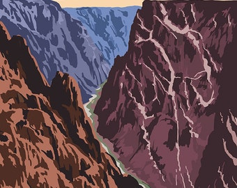 Black Canyon of the Gunnison National Park, Colorado - River and Cliffs (Art Prints available in multiple sizes)