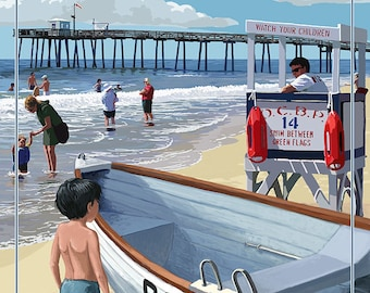 Ocean City, New Jersey - Lifeguard Stand (Art Prints available in multiple sizes)