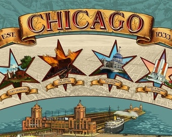 Chicago, Illinois - Four Stars (Art Prints available in multiple sizes)