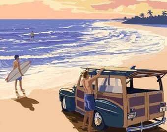 Daytona Beach, Florida - Woody On The Beach (Art Prints available in multiple sizes)