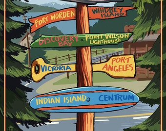 Port Townsend, Washington - Port Townsend Destinations Sign (Art Prints available in multiple sizes)